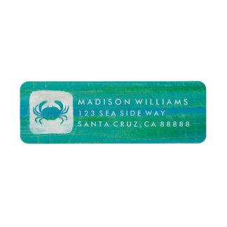 Coastal | Aqua Crab Return Address Label