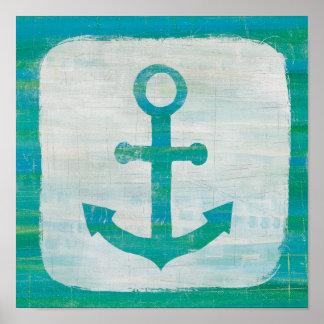 Coastal Art   Aqua Anchor Poster
