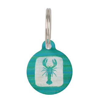 Coastal Art | Aqua Lobster Pet Name Tag
