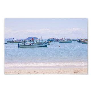 Coastal Art Blue Sea and Boats Photograph