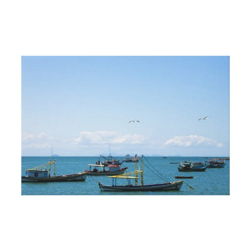 Coastal Art Blue Sea and Boats Photograph Gallery Wrap Canvas