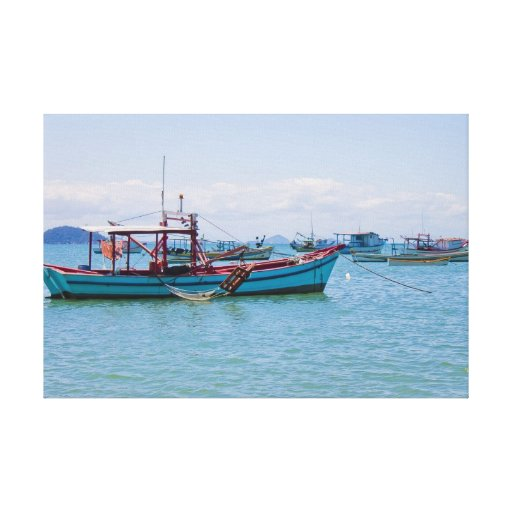 Coastal Art Blue Sea and Boats Photograph Gallery Wrapped Canvas