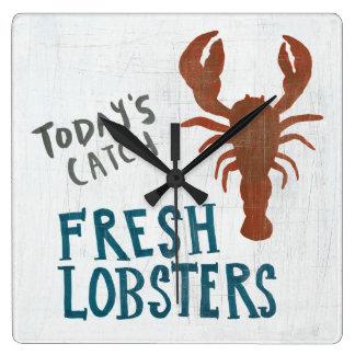 Coastal Art | Fresh Lobsters Square Wall Clock