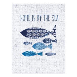 Coastal Art | Home is By the Sea Postcard
