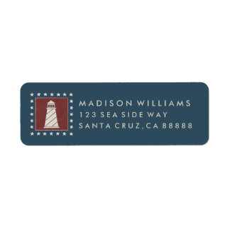 Coastal Art | Lighthouse on Red Return Address Label