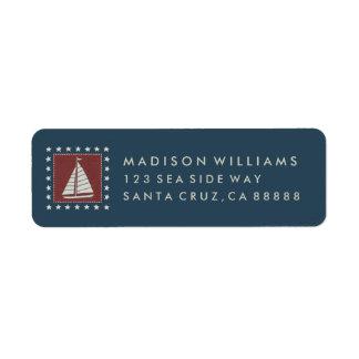 Coastal Art   Sailboat on Red Return Address Label