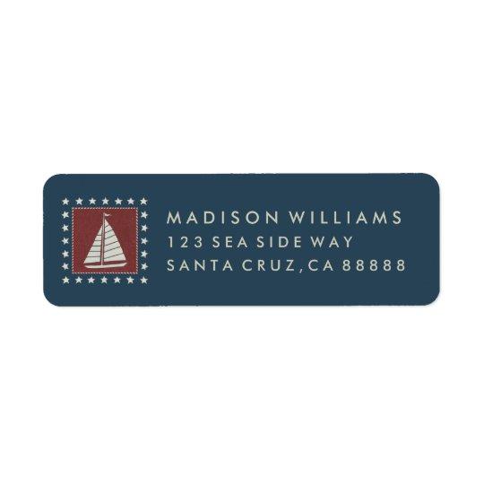 Coastal Art | Sailboat on Red Return Address Label