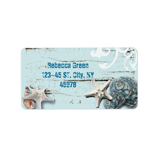 Coastal barn wood aqua blue starfish seashells address label