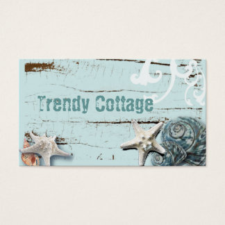 Coastal barn wood aqua blue starfish seashells business card