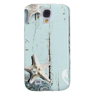 Coastal barn wood aqua blue starfish seashells galaxy s4 cases
