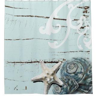 Coastal barn wood aqua blue starfish seashells shower curtain