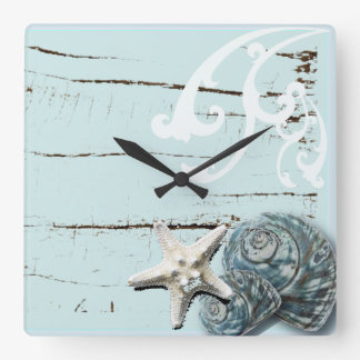 Coastal barn wood aqua blue starfish seashells square wall clock