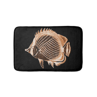 Coastal beach fish ocean black bath mats