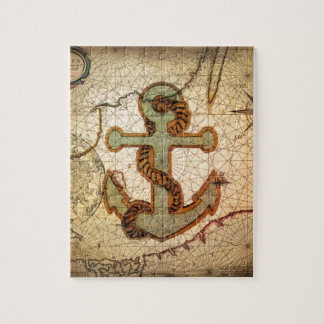 Coastal Beach Nautical Map vintage Anchor Jigsaw Puzzle
