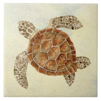 Coastal Beach Ocean Seashore Collage Sea Turtle Ceramic Tile