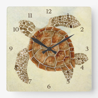 Coastal Beach Ocean Seashore Collage Sea Turtle Clock