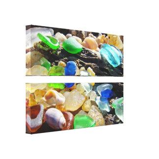 Coastal Beach Seaglass Canvas Panels custom Gallery Wrapped Canvas