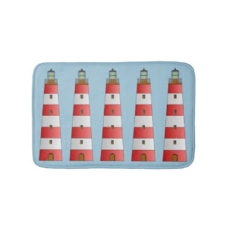 Coastal Beach Striped Lighthouse on Blue Bath Mat