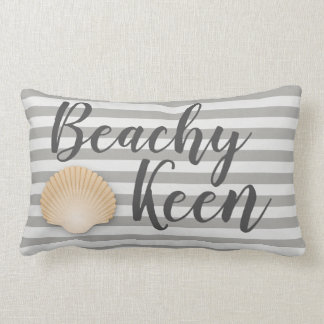 Coastal Beachy Keen Gray Stripes & Tan Seashell Lumbar Cushion