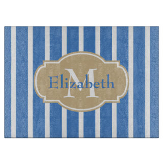 Coastal Blue and Sand Stripe Monogram Cutting Board