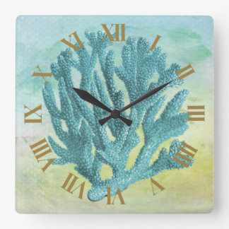 Coastal Blue Coral Beautiful and Elegant Square Wall Clock