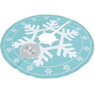 Coastal Blue Giant Snowflake Brushed Polyester Tree Skirt