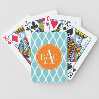 Coastal Blue Monogrammed Barcelona Print Bicycle Playing Cards
