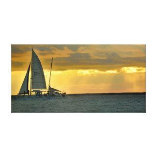 Coastal Catamaran Sunset Stretched Canvas Prints