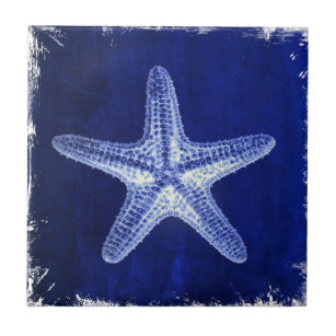 coastal chic beach rustic nautical blue starfish tile