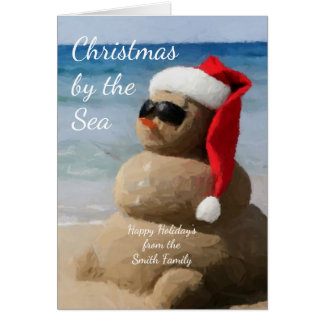 Coastal Christmas Snowman on the Beach Card