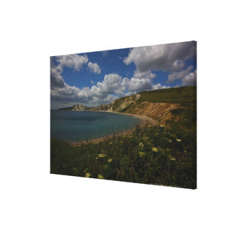 Coastal cliffs and landscape stretched canvas print
