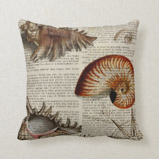 coastal conch vintage seashell botanical print cushion