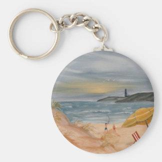 coastal decor beach art oil painting basic round button key ring