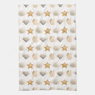 Coastal Decor Seashell Pattern Kitchen Towels