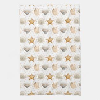 Coastal Decor Seashell Pattern Tea Towels