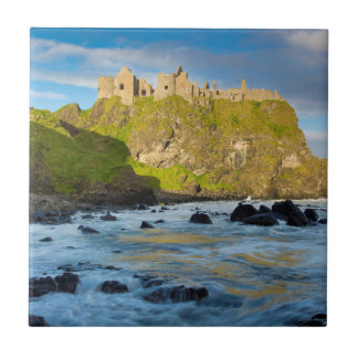 Coastal Dunluce castle, Ireland Small Square Tile