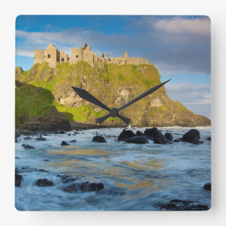 Coastal Dunluce castle, Ireland Square Wall Clock