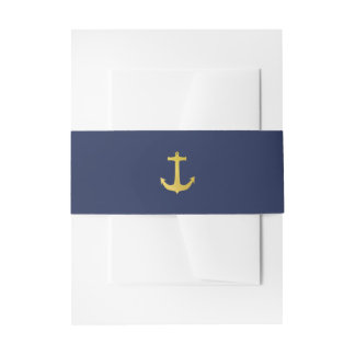 Coastal Glamour | Gold Anchor on Navy Blue Wedding Invitation Belly Band