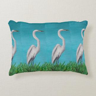 Coastal Heron Accent Pillow