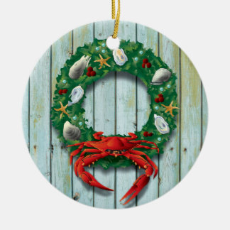 Coastal Holiday Crab Wreath Ceramic Ornament