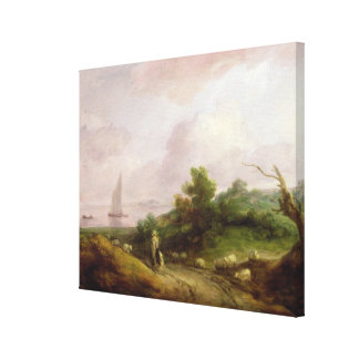 Coastal Landscape with a Shepherd and his Flock, c Stretched Canvas Print