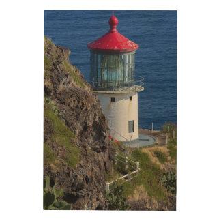 Coastal lighthouse, Hawaii Wood Wall Art