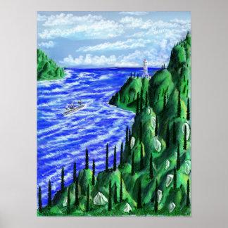 Coastal Lighthouse Scene Poster