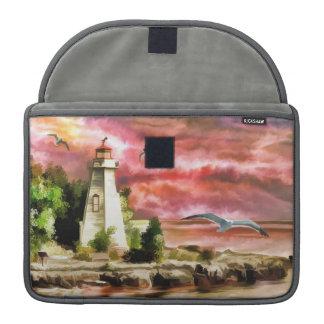 Coastal Lighthouse Sunset Sky Sea Macbook Sleeve