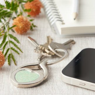 Coastal Mint Green Vintage French Scrollwork Silver-Colored Twisted Heart Key Ring