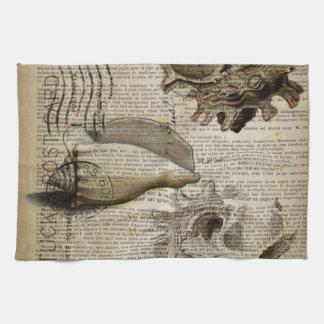 coastal modern vintage french botanical seashell tea towel