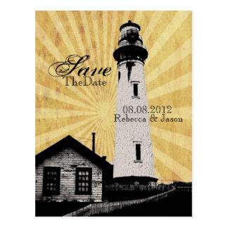 Coastal Nautical Lighthouse Wedding save the date Postcard