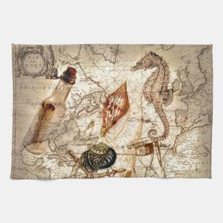 Coastal Nautical Map botanical seahorse seashell Tea Towel