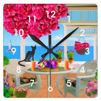 Coastal Ocean Veranda Scene Wall Clocks