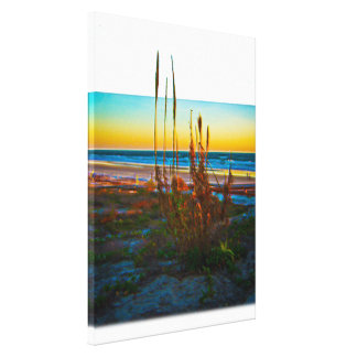 Coastal Plants Sand Dunes Beach And Ocean Gallery Wrapped Canvas